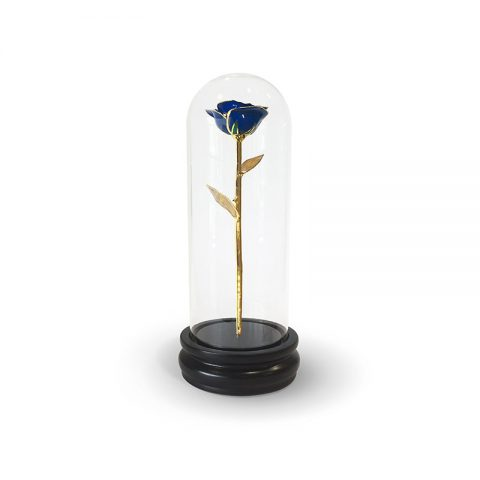 Blue Rose Gold Leaf Gifts with Premium Glass Dome - Infinity Rose USA